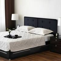 Sleeplanner Queen-Size Dura Steel Headboard Upholstered with Button Faux Leather