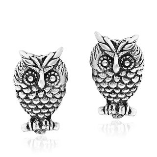 Majestic Owl Perched on a Branch Sterling Silver Stud Earrings