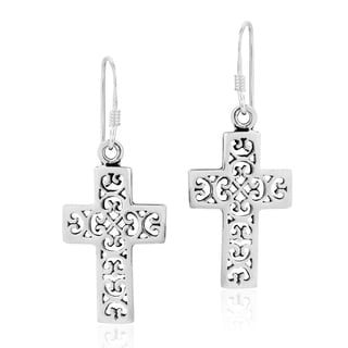 Handmade Sterling Silver Cross Accented with Swirls Dangle Earrings (Thailand)