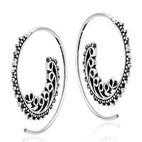 Ethnic Waves Spiral Slide Pierce Hoop Sterling Silver Earrings