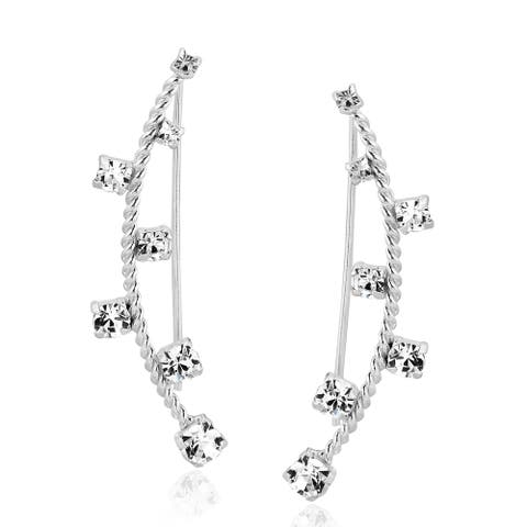 Handmade Sparkling Cubic Zirconia Sterling Silve Crawler Earrings (Thailand)