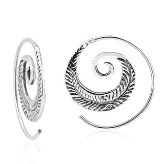 Feather Nature Branch Spiral Slide Hoop Sterling Silver Earrings