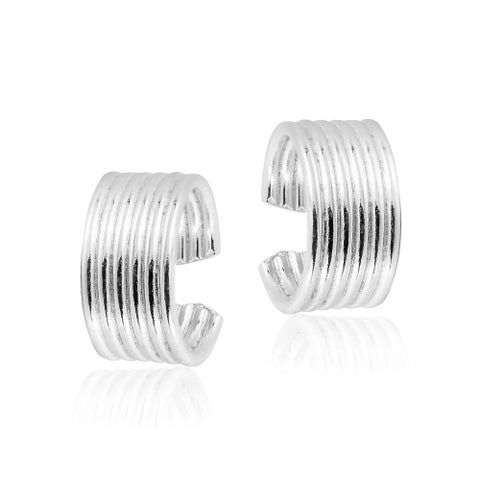 Handmade 10 mm Six Rows Sterling Silver Ear Cuff Earrings (Thailand)