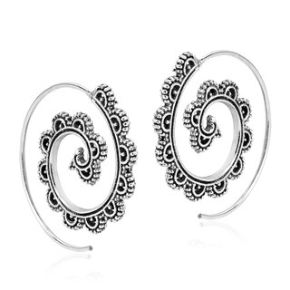 Tribal Wave Swirl Sterling Silver Spiral Pierce Hoop Earrings