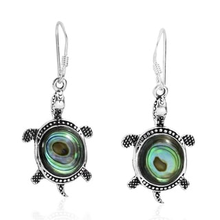 Link to Handmade Adorable Sea Turtle Abalone Shell Sterling Silver Dangle Earrings Similar Items in Earrings