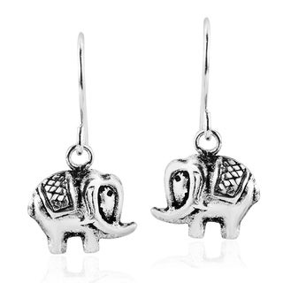 Trendy and Cute Elephant Sterling Silver Dangle Earrings (Thailand)
