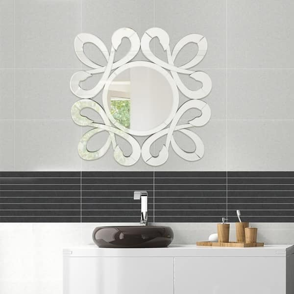 Shop Fiori Stylish Frame Wall Decorative Round Mirror Design L 31 5 X W 31 5 By Fab Glass And Mirror 31 5x31 5 Inch Overstock 18060879