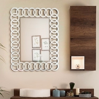 THE UNION - Decorative Rectangle Wall Mirror Design L 35.5 x W 27.5 by Fab Glass and Mirror