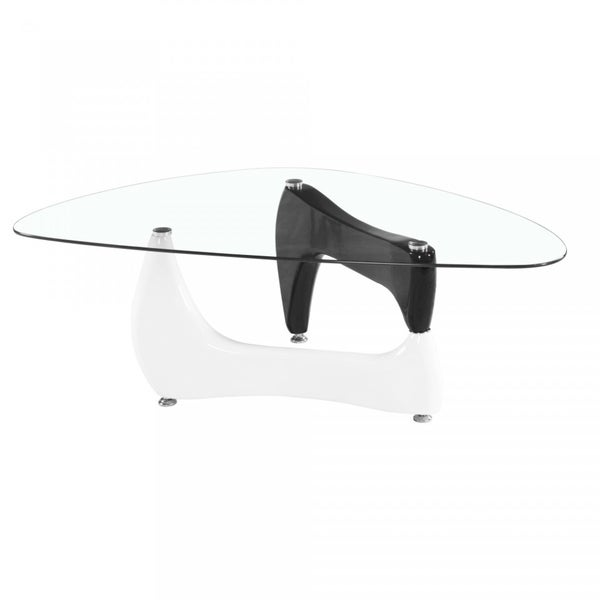 Noguchi Style Glass Coffee Table with Black and White Gloss Legs