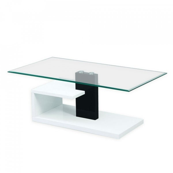 Modern Tempered Glass Coffee Table with Black and White Glossy Base