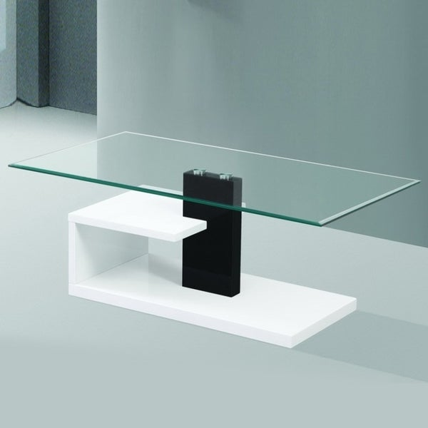 Glossy White Contemporary Clear Temper Glass Sleek Modern: Shop Modern Tempered Glass Coffee Table With Black And