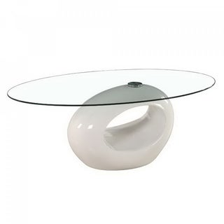 Fab Glass Oval Glass Contemporary Coffee Table