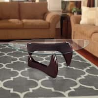 Gloss Brown Wood/Glass Noguchi-style Coffee Table