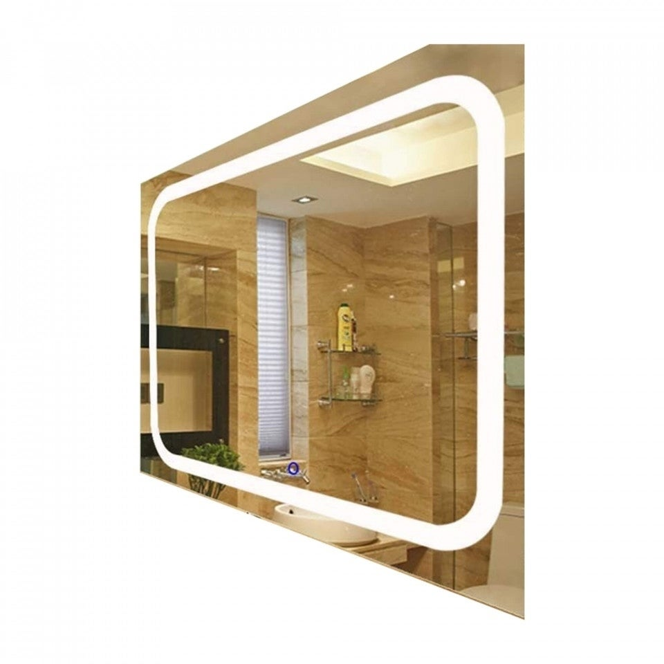 Broadway Large Rectangle Wall Mounted Vanity Mirror With Led Lighting
