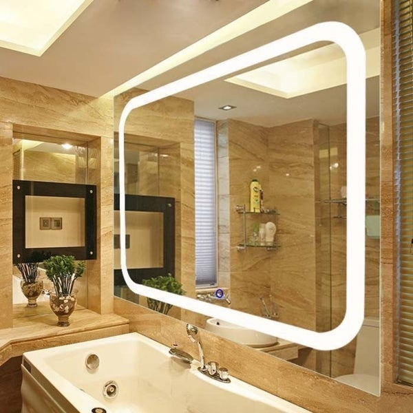 Broadway Large Rectangular Wall Mounted Vanity Mirror With Led Lighting By Fab Gl And
