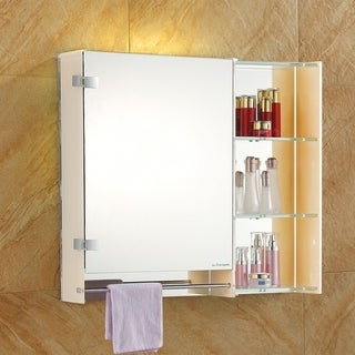 THE DESIREE - LED Glass Cabinet With Two Adjustable Side Shelves and Chrome Towel Bar by Fab Glass and Mirror