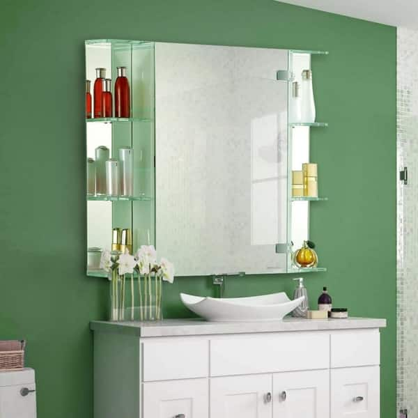 Shop Pen Wave Shaving Mirror Cabinet With Led Lighting And Side Shelves Overstock 18061023