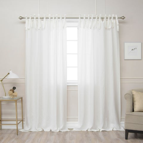 Aurora Home Belgian Flax Linen Tie Top Curtain Panel