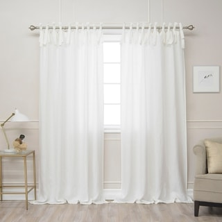 Aurora Home Belgian Flax Linen Tie Top Curtain Panel - N/A (Option: Ivory)