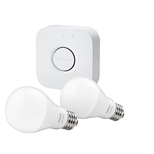 Philips Hue White A19 Starter Kit with 2 xA19 LED Light Bulbs and Bridge  (As Is Item)