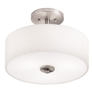 Aztec Lighting Transitional 3-light Brushed Nickel Semi-Flush Mount