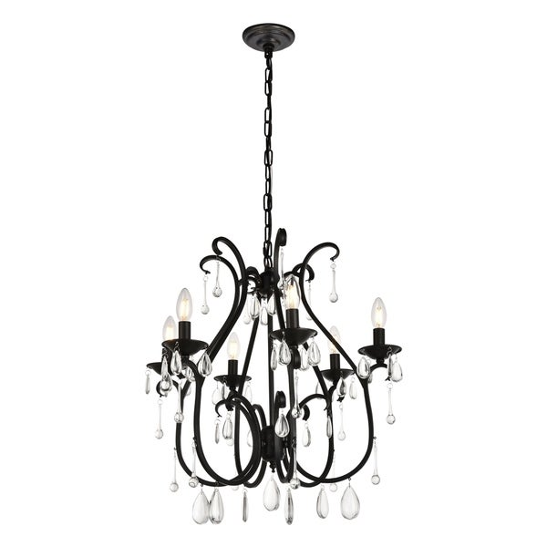 Regan Collection Chandelier D22 H25 Lt:6 Dark Bronze Finish
