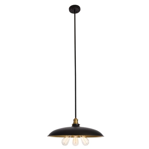 Anders Collection Chandelier D20.5 H6.5 Lt:3 Black and Brass Finish