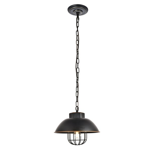 Pax Collection Pendant D10.8 H9 Lt:1 Matte Black and Brushed Gold edge Finish