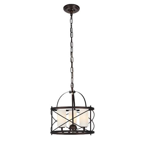 Wren Collection Pendant D15.8 H17.3 Lt:3 Dark Copper Brown and White Finish