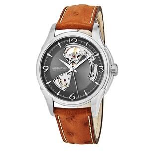 Hamilton Men's H32565585 'Jazzmaster' Grey Open Heart Dial Beige Leather Strap Swiss Automatic Watch