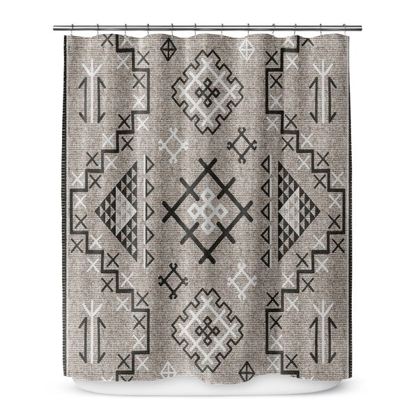 AZTEC BLACK Shower Curtain By Marina Gutierrez