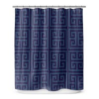 GREEK KEY NAVY Shower Curtain By Becca Garrison