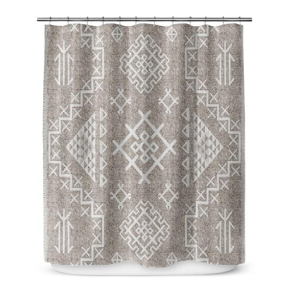 AZTEC WHITE Shower Curtain By Marina Gutierrez