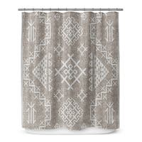 AZTEC WHITE Shower Curtain By Marina Gutierrez