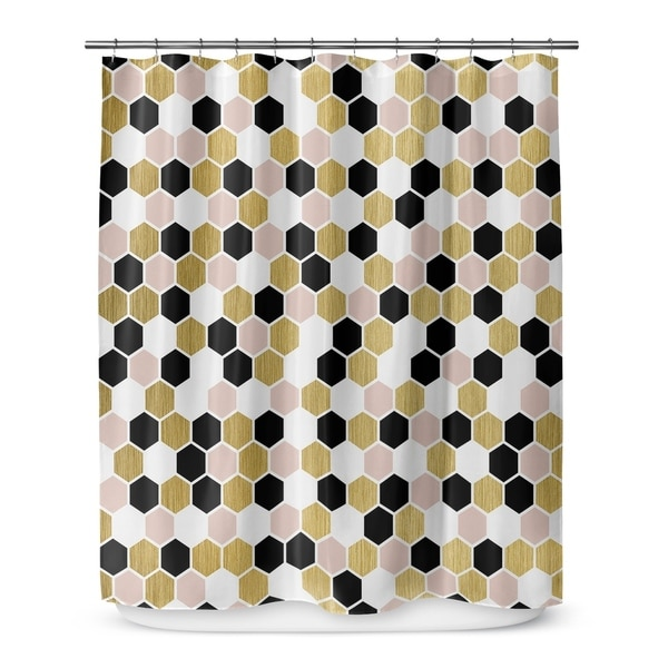 Shop GOLD BLACK PINK AND WHITE 3 Shower Curtain By Terri Ellis