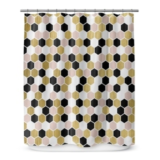 Kavka Designs Gold Black Pink And White II Shower Curtain