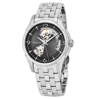 Hamilton Men's H32565185 'Jazzmaster' Grey Open Heart Dial Stainless Steel Swiss Automatic Watch