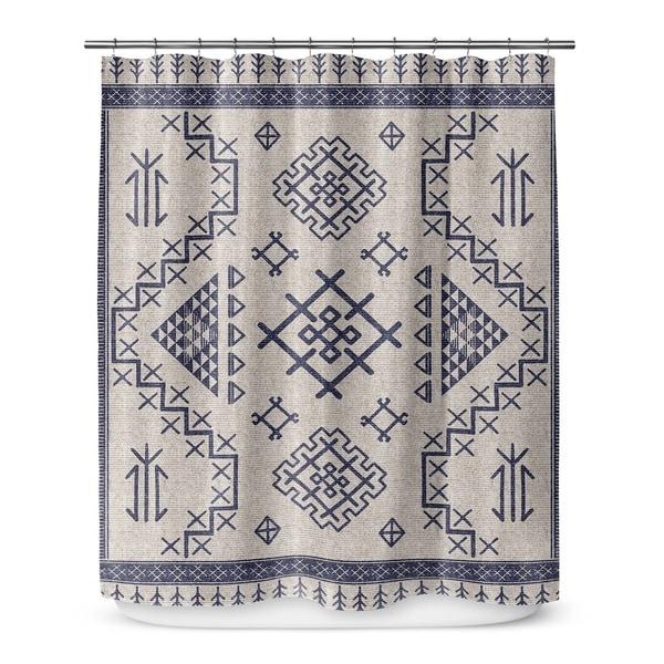 AZTEC LIGHT BLUE Shower Curtain By Marina Gutierrez