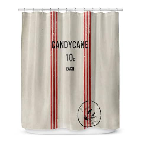 HOLIDAY CANDY CANE Shower Curtain By Terri Ellis