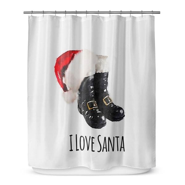 Shop I LOVE SANTA Shower Curtain By Terri Ellis