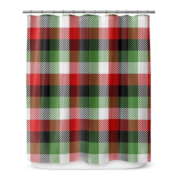 CHRISTMAS PLAID Shower Curtain By Terri Ellis