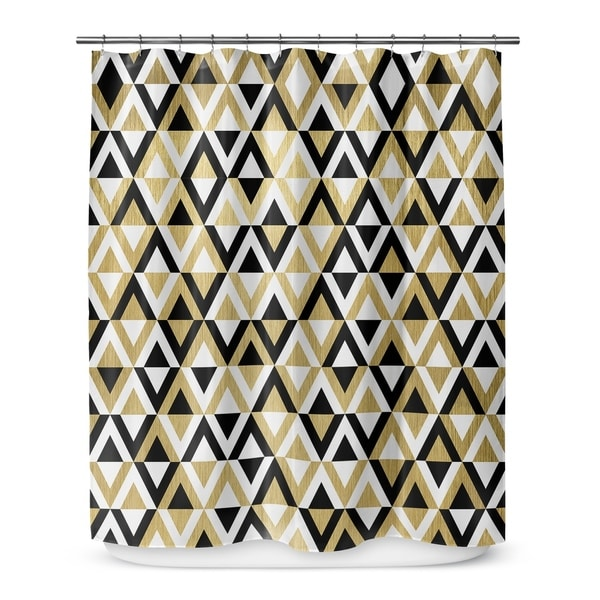 Shop GOLD BLACK AND WHITE 5 Shower Curtain By Terri Ellis