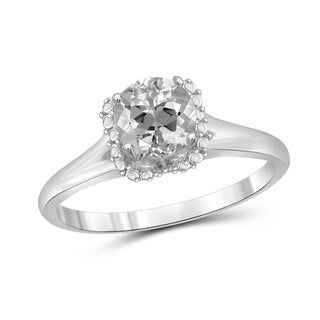 JewelonFire 0.90 Carat Genuine White Topaz Gemstone Ring in Sterling Silver