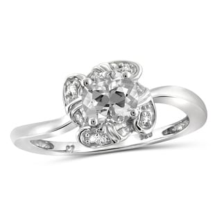 JewelonFire 0.90 Carat Genuine White Topaz and Accent White Diamond Ring in Sterling Silver