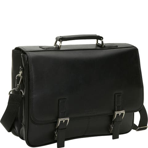 Kenneth Cole Reaction Manhattan Leather Double Compartment Tucklock Flapover Messenger Business Briefcase Portfolio