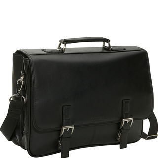 Kenneth Cole Reaction Manhattan Leather Double Compartment Tucklock Flapover Messenger Brief