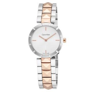 Calvin Klein Women's K5T33BZ6 'Edge' Silver Dial Two Tone Stainless Steel Swiss Quartz Watch