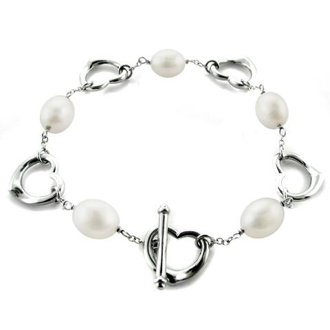 DaVonna Heart Shape Sterling Silver 7-8mm Long shape White Freshwater Cultured Pearl Bracelet