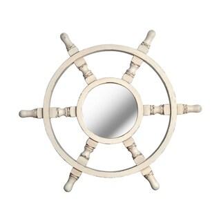 Design Craft Starboard White Ship's Wheel Wall Mirror