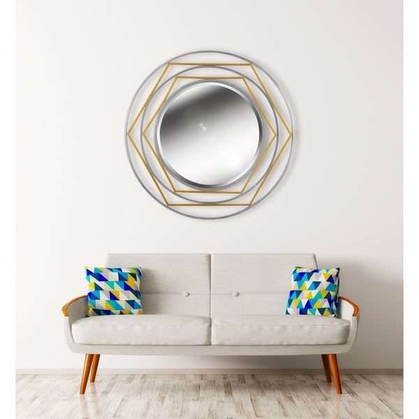 "Mallory 36"" Gold and Silver Wall Mirror"